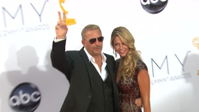 stockvideo's en b-roll-footage met kevin costner at 64th primetime emmy awards arrivals on 9/23/12 in los angeles ca - kevin costner