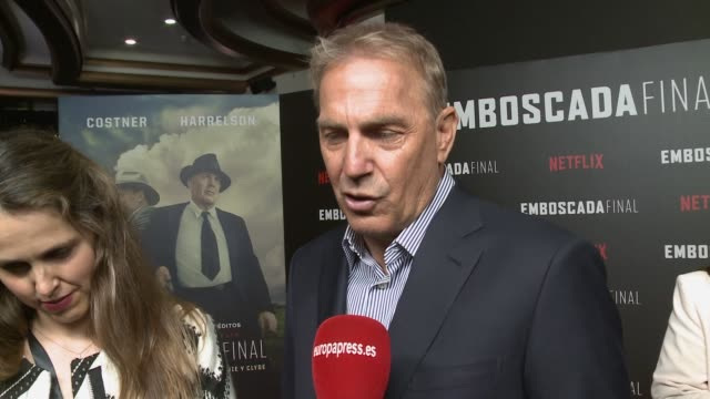 kevin costner attends the highwaymen movie in madrid and talks about how his work also involves europe and spain - kevin costner stock videos & royalty-free footage