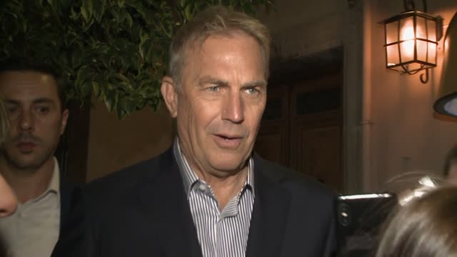 kevin costner with fans after dinner with the highwaymen movie cast in madrid - kevin costner stock videos & royalty-free footage