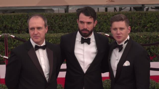 kevin doyle, allen leech, and tom cullen at the 22nd annual screen actors guild awards - arrivals at the shrine auditorium on january 30, 2016 in los... - shrine auditorium stock videos & royalty-free footage