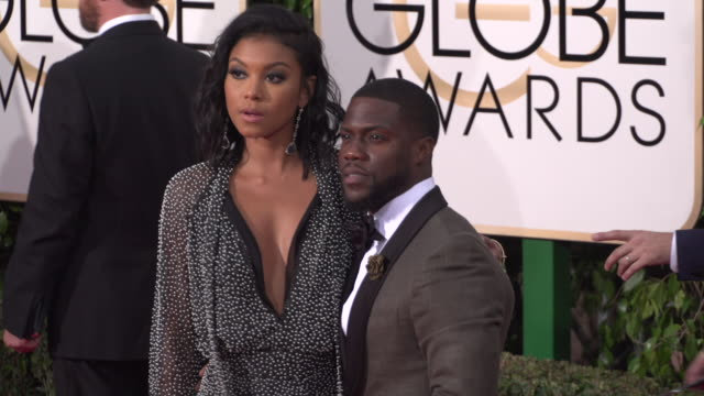 kevin hart and eniko parrish at 73rd annual golden globe awards - arrivals at the beverly hilton hotel on january 10, 2016 in beverly hills,... - the beverly hilton hotel stock videos & royalty-free footage