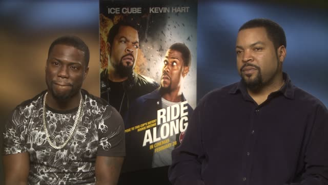 Kevin Hart and Ice Cube on stunts and working with Laurence Fishburne at 'Ride Along' Interviews at Dorchester Hotel on February 24 2014 in London...