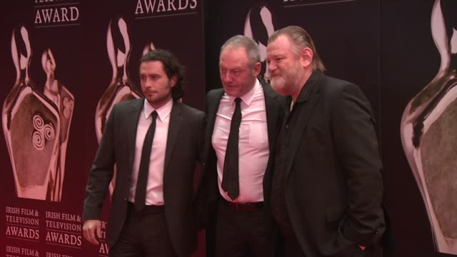 kevin j hughes liam cunningham and brendan gleeson at the iftas at convention centre dublin ireland on february 11th 2012 - liam cunningham stock videos & royalty-free footage