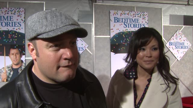 kevin james on the film, the appeal of adam sandler, bedtime stories at the 'bedtime stories' premiere at los angeles ca. - アダム・サンドラー点の映像素材/bロール