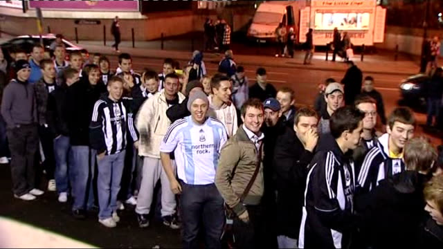 Kevin Keegan returns as manager of Newcastle United ENGLAND Newcastle St James Park EXT Crowd of young Newcastle FC fans queuing up and chanting name...