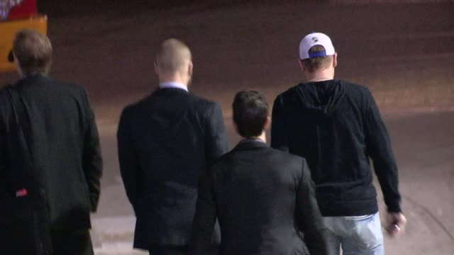 Kevin Klein Dan Girardi and Benoit Pouliot depart from LA KingsNY Rangers Game 2 at Staples Center on June 07 2014 in Los Angeles California