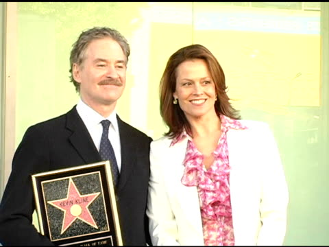 Kevin Kline and Sigourney Weaver at the Dedication of Kevin Kline's Star on the Hollywood Walk of Fame at Hollywood Boulevard in Hollywood California...