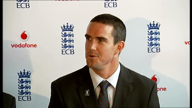 kevin pietersen appointed england captain; pietersen press conference sot - talks about how captaincy might affect his personal life/good friends... - pros and cons stock videos & royalty-free footage