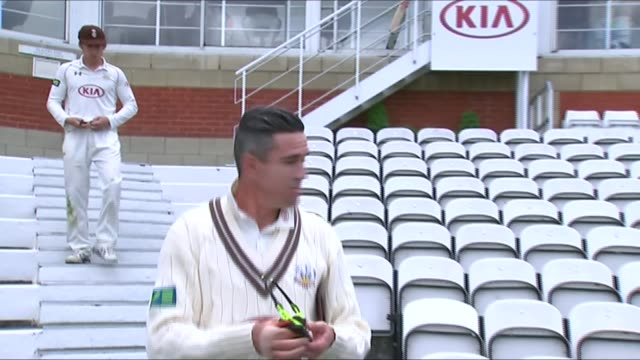Kevin Pietersen not selected for England team ENGLAND London The Oval EXT Kevin Pietersen down steps in cricket ground past reporter Reporter SOT...