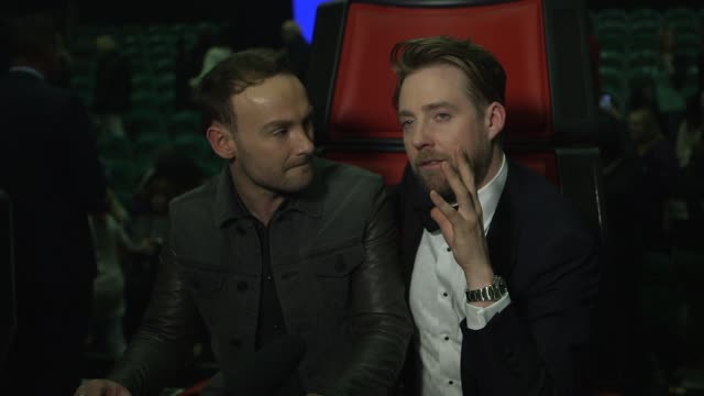 kevin simm & ricky wilson on winning the voice, future plans and advice at elstree studios on april 09, 2016 in borehamwood, england. - ボーハムウッド点の映像素材/bロール