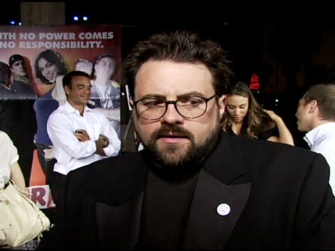 kevin smith on clerks i to clerks ii, advice to aspiring filmmakers, talk about his success in the film industry, and favorite brand of jeans at the... - archivista video stock e b–roll
