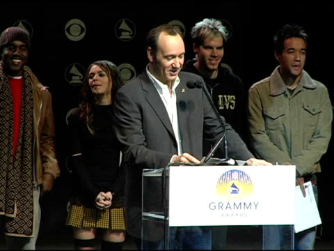 kevin spacey announces the grammy award nominees in the catagory best new artist at the 2004 grammy awards nominations at the henry fonda music box... - ノミネート点の映像素材/bロール