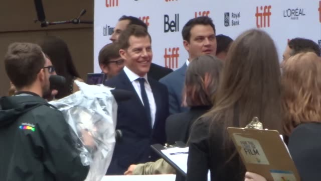 kevin walsh, teddy schwarzman, michael a. pruss, and ryan stowell spotted on day 2 of the 2019 toronto international film festival at celebrity... - toronto international film festival stock videos & royalty-free footage