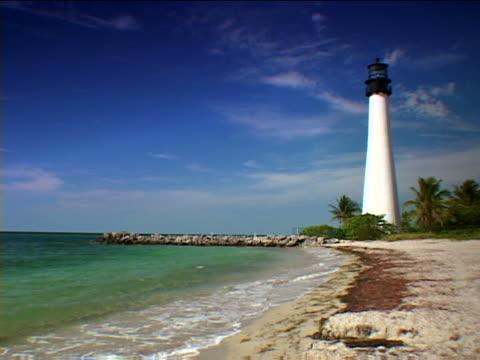 key biscayne: bill baggs cape florida beach - artbeats stock videos & royalty-free footage