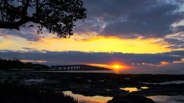 hd time lapse: key west bridge at sunrise - key west stock videos & royalty-free footage