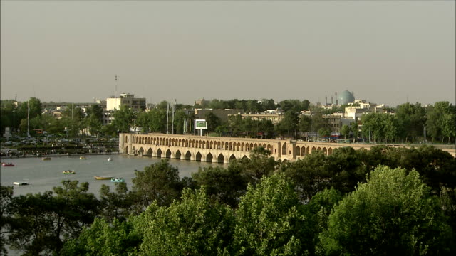 WS HA PAN Khaju Bridge and boats on Zayandeh River, Isfahan, Iran