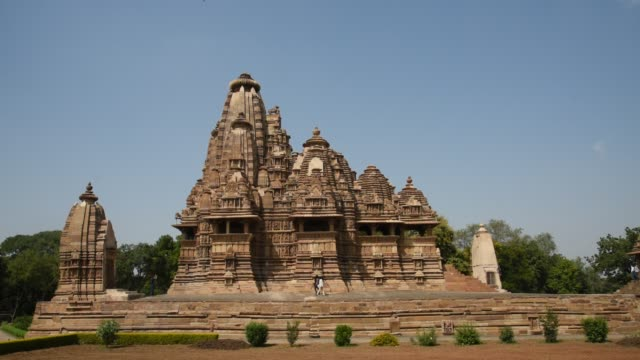 khajuraho temple, india, unesco world heritage site. - shrine stock videos & royalty-free footage
