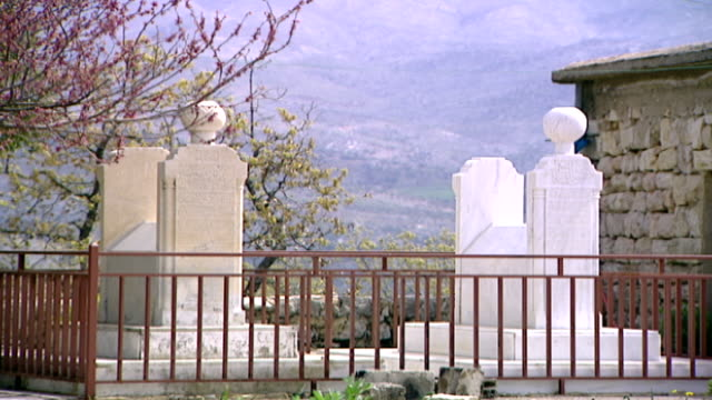 khalwat al-bayada. view of marble headstones in the cemetery of khalwat al-bayada, the central sanctuary of the druze in the chouf mountains. - theology stock videos & royalty-free footage