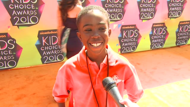khamani griffin on being at the show, on working with nickelodeon, and on who he would like to meet at the event at the nickelodeon's 23rd annual... - khamani griffin stock videos & royalty-free footage