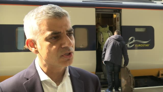 Khan visit to Europe to stress the need to cooperate to tackle terrorism Sadiq Khan interview SOT Flags flying outside European Union building EU...