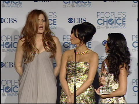 khloe, kim, and kourtney kardashian on winning an award at the 2011 people's choice awards - press room at los angeles ca. - people's choice awards stock videos & royalty-free footage