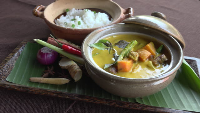khmer curry with duck and rice - angkor stock videos and b-roll footage
