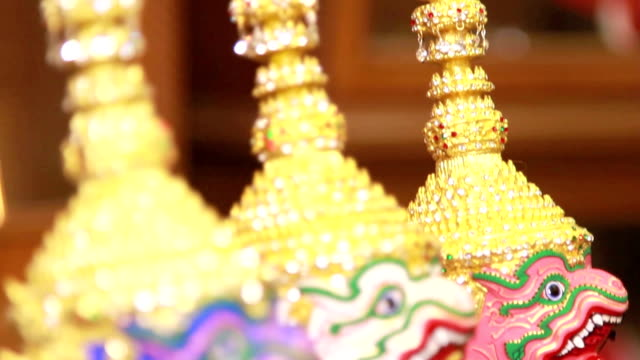 khon mask - carving craft product stock videos & royalty-free footage