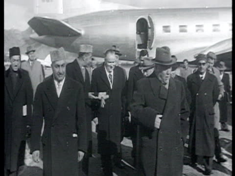 khrushchev and bulganin welcomed at the airport on december 1955 most probably by prime minister muhammad daud khan / afghanistan audio - 1955 stock videos & royalty-free footage