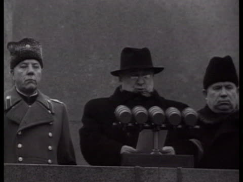 Khrushchev giving speech from Mausoleum at Red Square / Moscow Russia AUDIO