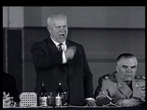 Khrushchev in France the Paris Summit Khrushchev press conference in building next to Champs de Mars May 18 1960 Speaks about Germany USA western...