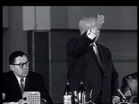 khrushchev in france, the paris summit : khrushchev press conference in building next to champs de mars, may 18, 1960. speaks about germany, usa,... - human limb stock videos & royalty-free footage