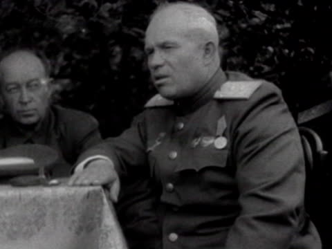 khrushchev inpecting the war devastation speaking to soviet soldiers and officers - kharkov stock videos & royalty-free footage