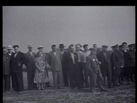 khrushchev is invited by nobel prize of literature mikhail sholokhov for a 2 days trip to the don region khrushchev deplanes meet w/ sholokhov and... - cyrillic script stock videos & royalty-free footage