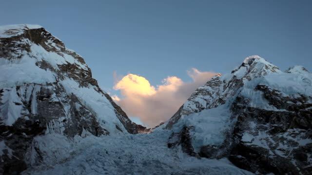 khumbu icefall sunset, everest - khumbu stock videos and b-roll footage