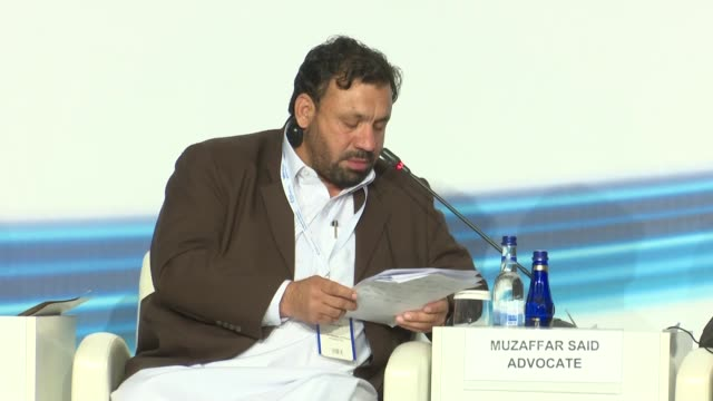 khyber pakhtunkhwa finance minister muzaffar said advocate and afghanistan's economy minister abdul sattar murad speak during session entitled... - november stock videos & royalty-free footage