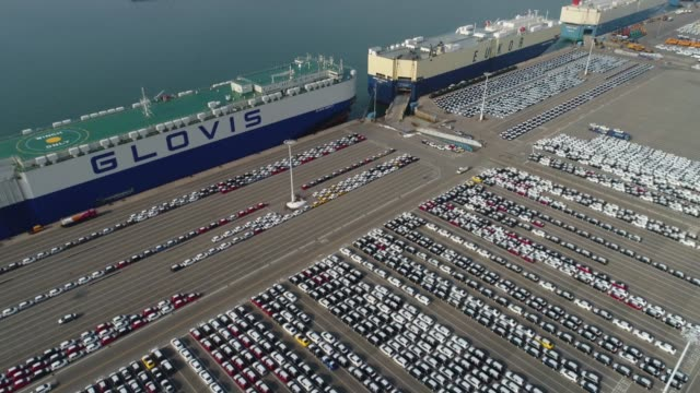 Kia Motors Corp vehicles bound for export await shipment in this aerial video taken above the port of Pyeongtaek in Pyeongtaek South Korea on Monday...
