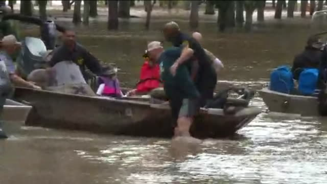 Houston Police in Boats with Flood Victims at Hurricane Harvey in Humble Texas on Aug 30 2017