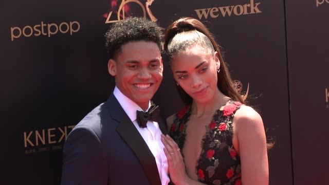 kiara barnes and adain bradley at the 2019 daytime emmy awards at pasadena civic center on may 05 2019 in pasadena california - daytime emmy preisverleihung stock-videos und b-roll-filmmaterial