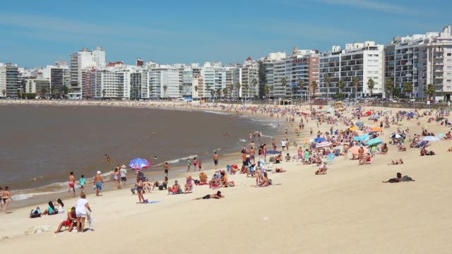 kibon and pocitos beach, montevideo, uruguay, 2015 - montevideo stock videos & royalty-free footage