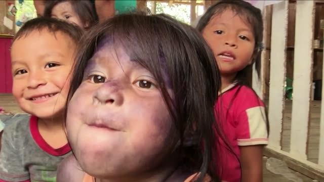 Kichwa Indian toddlers introduce themselves to camera at day-care center in Sarayaku, an autonomous region in the Ecuadorian Amazon inhabited by Kichwa Indians