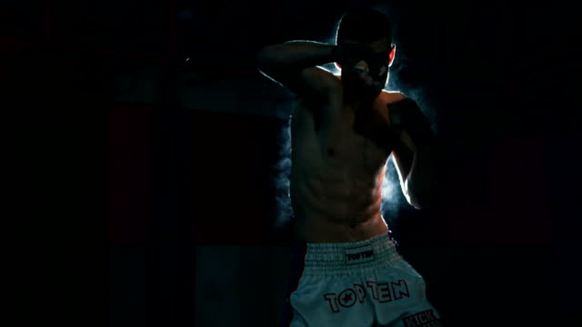 Kick boxer shadow boxing