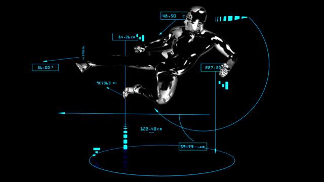 3d taekwondo kick man with technical data - taekwondo stock videos & royalty-free footage