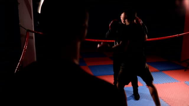 vídeos de stock, filmes e b-roll de kickboxer no treinamento individual com o ônibus - posição de combate
