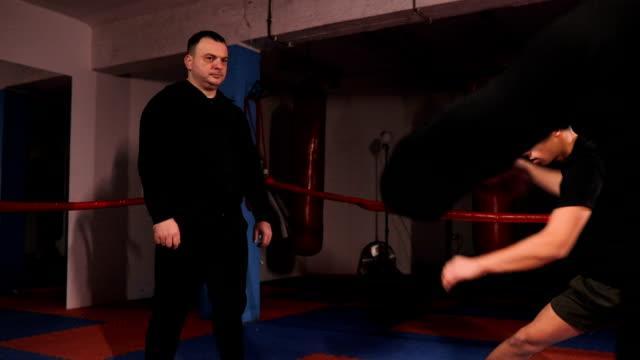vídeos de stock, filmes e b-roll de kickboxers aquecimento antes da prática - posição de combate