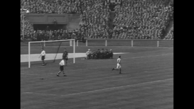 kickoff starting game between west bromwich albion and preston north end at wembley stadium in final of fa cup crowded stands in bg / ls playing... - princess margaret 1950 stock videos and b-roll footage