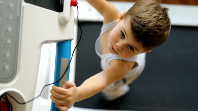 kid boy running on treadmill - skill stock videos & royalty-free footage