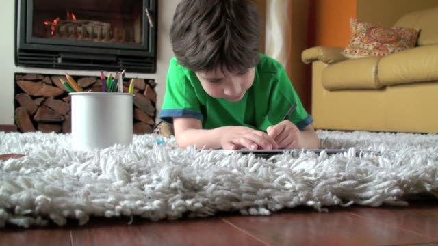 kid drawing in fireplace - living room stock videos & royalty-free footage