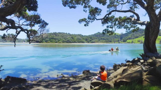 Kid Enjoying Outdoors at Mahurangi Regional Park, Auckland, New Zealand.