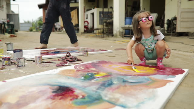 kid painting with uncle - art and craft stock videos & royalty-free footage