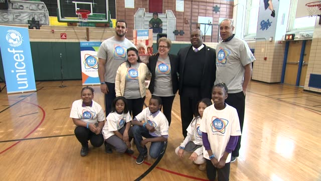 Kid Power Kicks off in New York with Former New York Knicks Star John Starks and Oday Aboushi at PS 242 on March 25 2015 in New York City